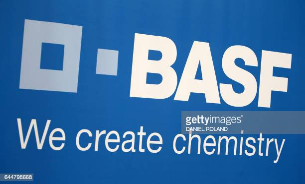 The logo of German chemicals company BASF is pictured at the company's headquarters in Ludwigshafen western Germany on February 24 2017 BASF said it...