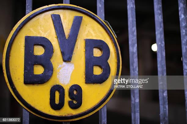 The logo of German first division football club Borussia Dortmund is seen near the 'Borusseum' football museum in the western city of Dortmund on...