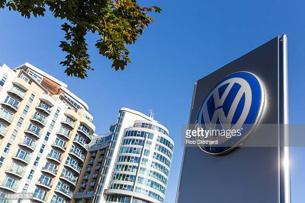 The logo of German manufacturer Volkswagen is seen outside a dealership in Battersea on September 25 2015 in London England The Department for...