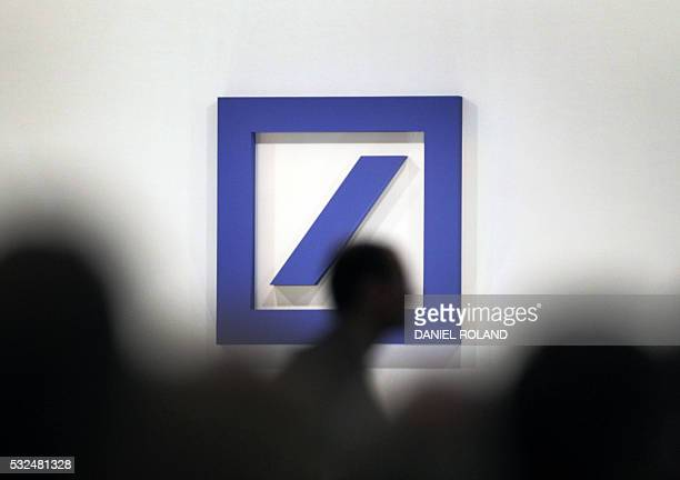 The logo of Germany's biggest lender Deutsche Bank can be seen during the company's annual shareholders' meeting in Frankfurt am Main western Germany...
