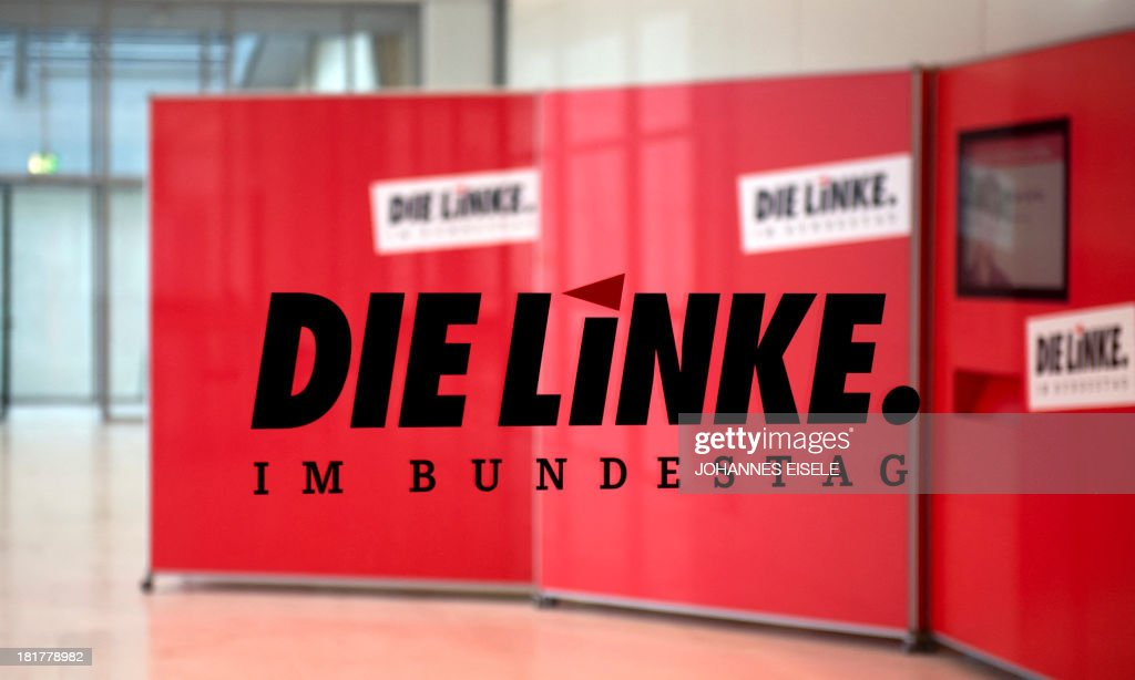 The logo of Germany's Left party (Die Linke) is seen at the party's parliamentary group rooms at the Bundestag (lower house of parliament) in Berlin on September 25, 2013. EISELE