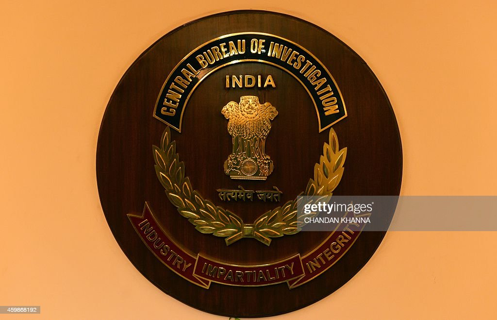 The logo of India's Central Bureau of Investigation is seen during a press conference by newlyelected CBI director Anil Kumar Sinha in New Delhi on...