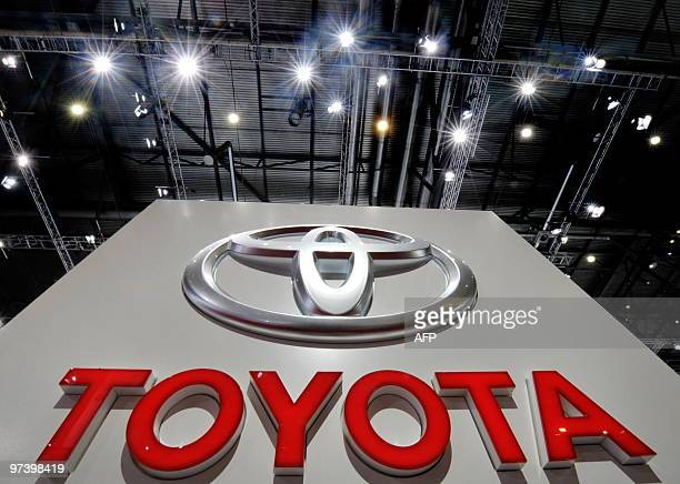 The logo of Japanese car manufacturer Toyota cen be seen at the Toyota stand at the 80th Geneva International Motor Show at Palexpo in Geneva on...