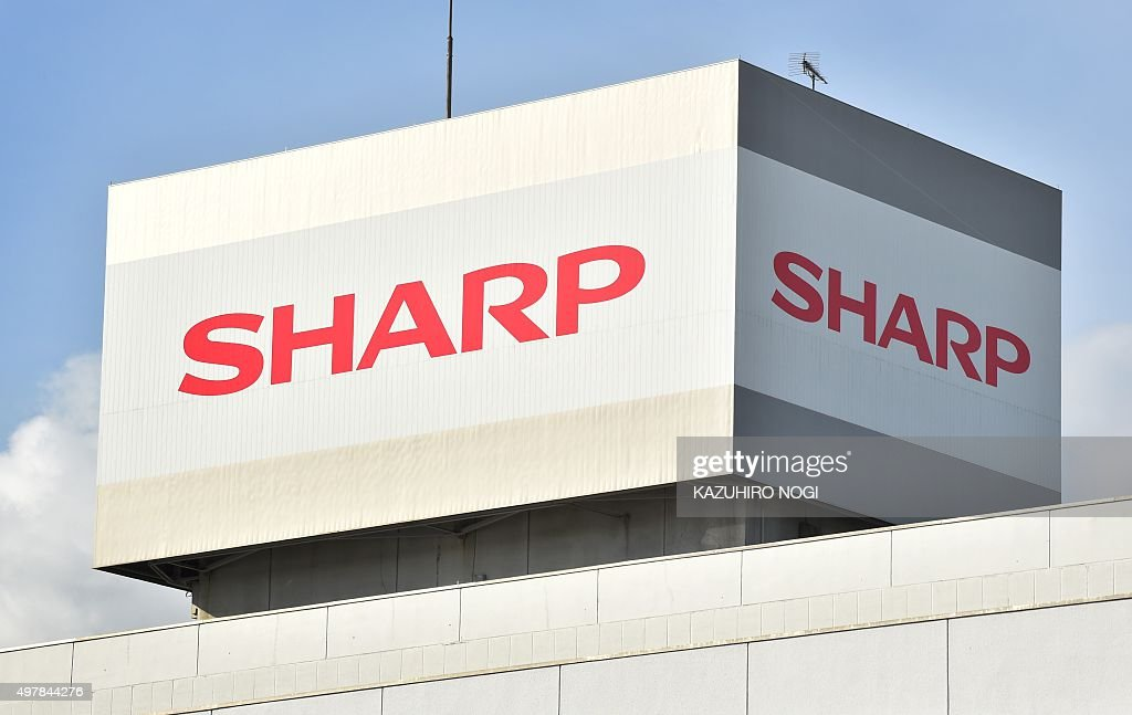 The logo of Japanese electronics giant Sharp is displayed on a roof top of the company's Tochigi Plant in Yaita Tochigi prefecture on November 19...