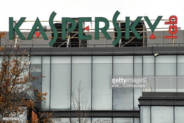 The logo of Kaspersky Lab Russia's leading antivirus software development company is seen on the roof of its headquarters in Moscow on October 25...