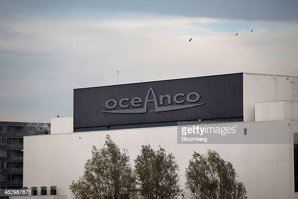 The logo of luxury yacht builders Oceanco a unit of MB Holding Co sits on a building in the Oceanco ship yard in Alblasserdam Netherlands on Friday...