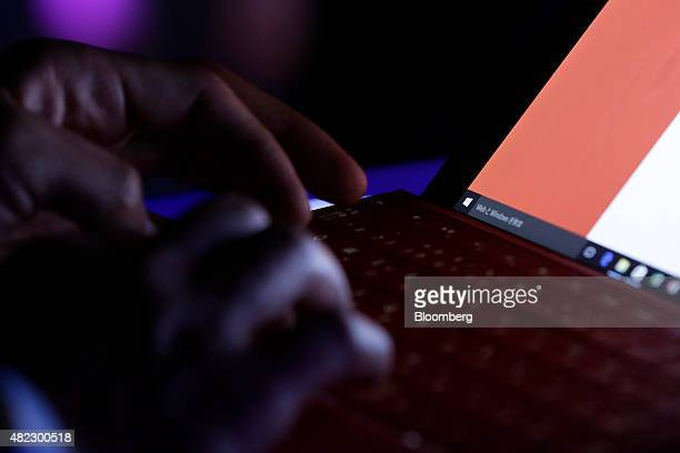 The logo of Microsoft Corp's Windows operating system is displayed on the screen of a Surface 3 tablet running the Windows 10 operating system during...