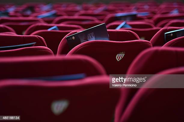 The logo of Monaco on stadium seats prior to the UEFA Champions League qualifying round play off second leg match between Monaco and Valencia on...