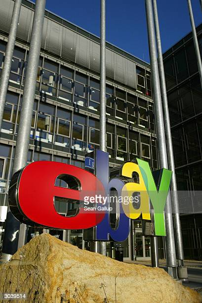 The logo of online auctioneer eBay stands outside the company's German headquarters March 3 2004 in Kleinmachnow Germany Germany is eBay's second...
