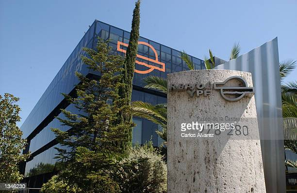 The logo of Spanish Company Repsol YPF stands outside of its headquarters August 20 2002 in Madrid Spain