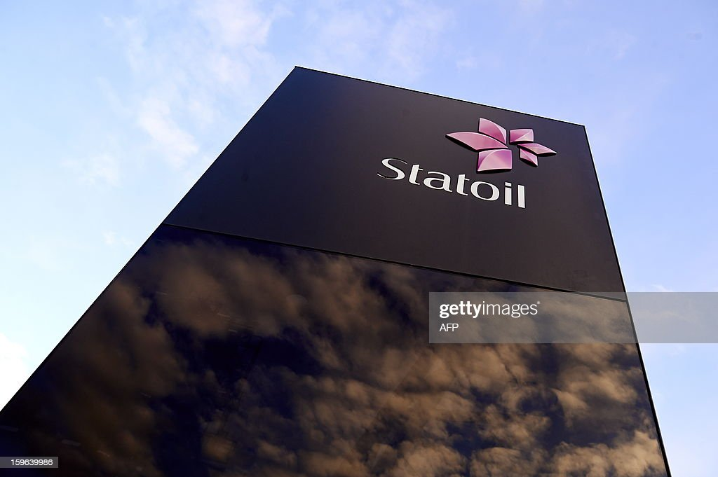 The logo of Statoil is pictured on January 17 2013 in Stavanger Norway as a hostagetaking at a Statoil gas plant in Algeria was announced on January...