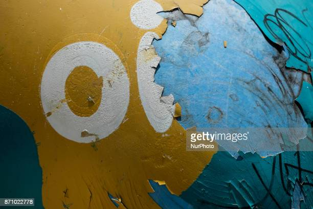 The logo of the Brazilian telephone operator Oi SA is seen in a terrible situation in the city of Recife northeastern Brazil on November 6 2017...