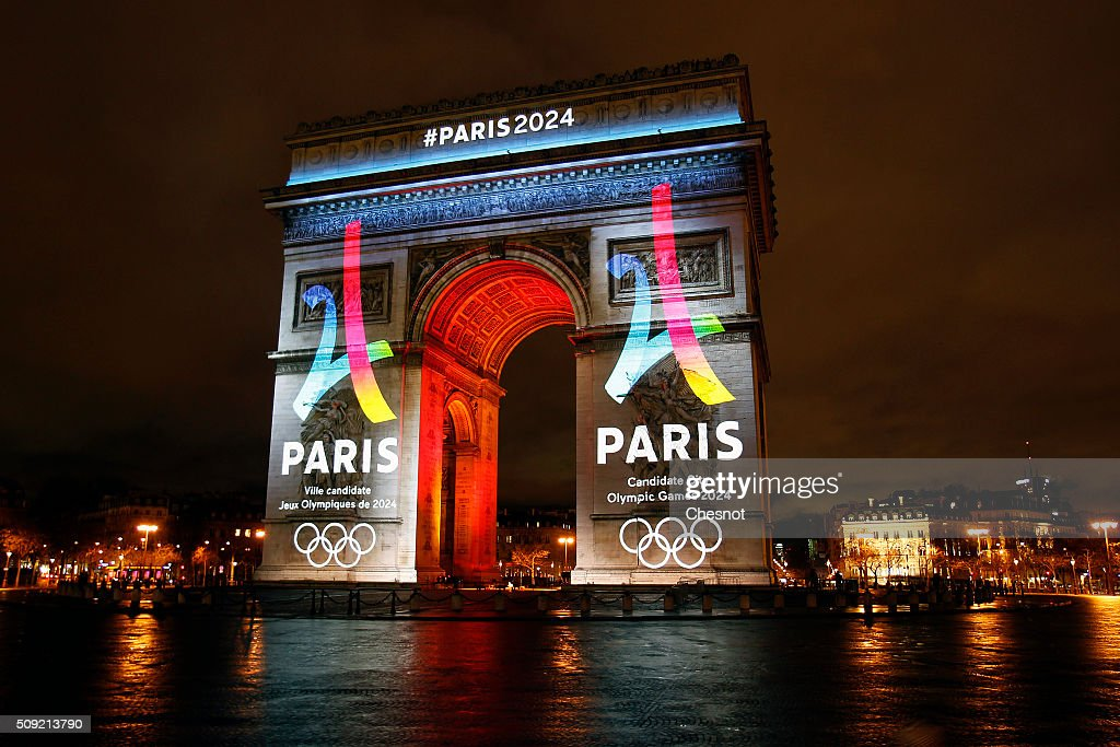 The logo of the candidacy of Paris 2024 is projected on the Arc de Triomphe on February 09, 2016 in Paris, France. The city of Paris is a candidate for the Summer Olympics in 2024 along with Rome, Budapest and Los Angeles.