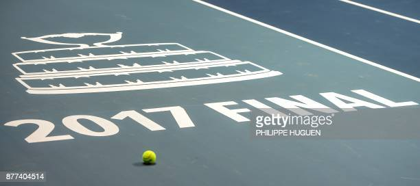 TOPSHOT The logo of the Davis Cup World Group final is pictured on November 22 2017 at the PierreMauroy stadium in Villeneuve d'Ascq ahead of the...