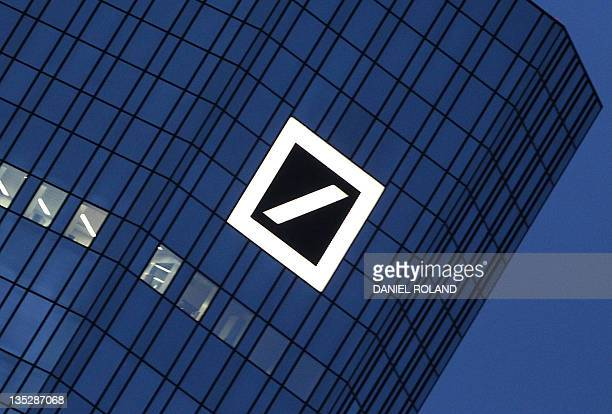 The logo of the Deutsche Bank is seen at the company's headquarters towers in Frankfurt/Main on December 8 2011 where an Italian farleft group called...