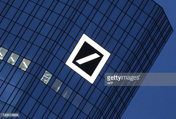 FILES The logo of the Deutsche Bank is seen at the company's headquarters towers in Frankfurt/Main on December 8 2011 Deutsche Bank Germany's biggest...