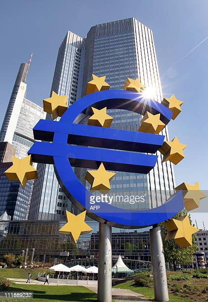 The logo of the European currency Euro stands in front of the European Central Bank in Frankfurt/M western Germany on April 7 2011 The European...