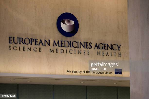 The logo of the European Medicines Agency is seen inside their offices after the visit of Spanish Health Secretary Dolors Montserrat in Canary Wharf...
