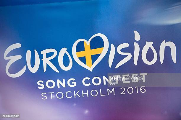 The logo of the Eurovision Song Contest 2016 is pictured during a draw for the semifinal of Eurovision Song Contest at Stockholm City Hall on January...