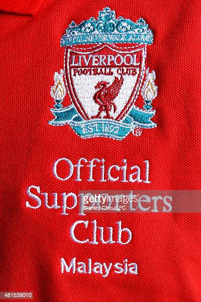 The logo of the fans club is seen during former Liverpool legends Dietmar Hamann and Luis Garcia meet and greet the fans session at the Wallstreet...