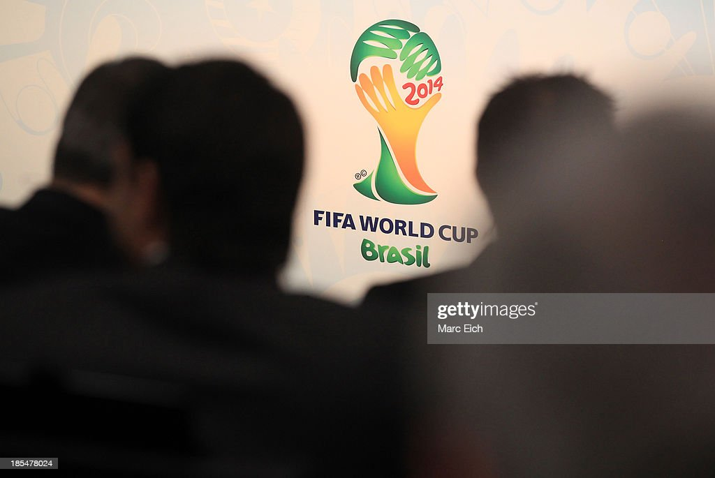 The logo of the FIFA World Cup 2014 is seen prior the FIFA World Cup 2014 European Zone Play-Off Match Draw at the FIFA headquarter on October 21, 2013 in Zurich, Switzerland.