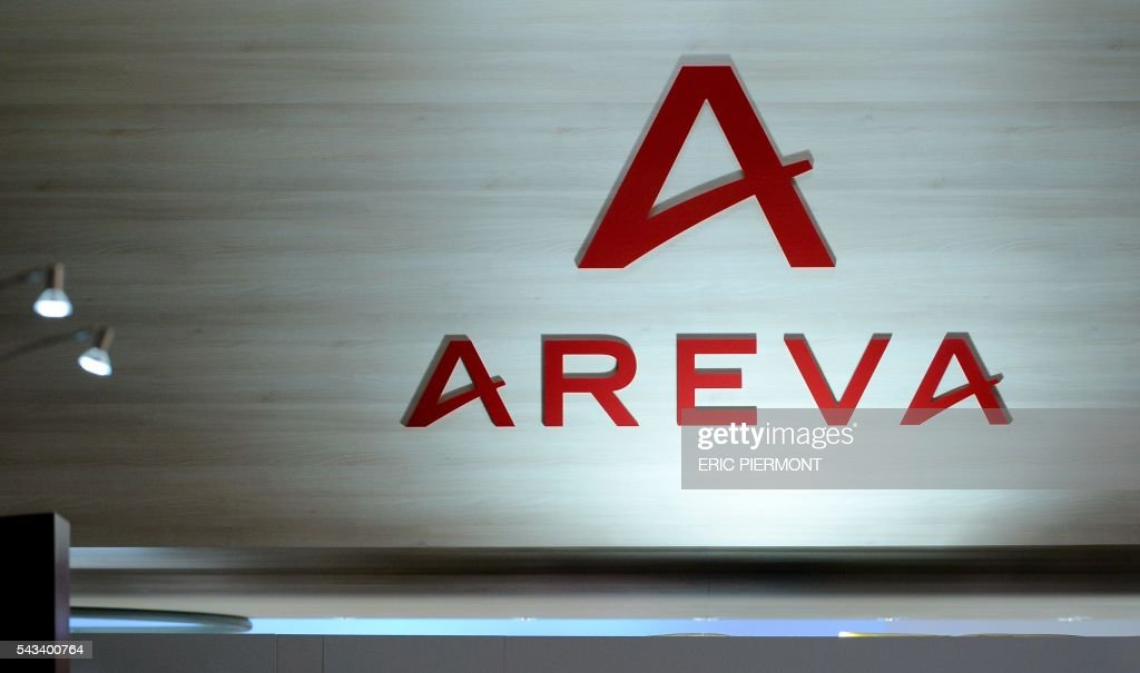 The logo of the French nuclear group Areva is seen during the World Nuclear Exhibition in Le Bourget, near Paris, on June 28, 2016. / AFP / ERIC