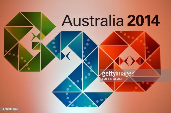 The Logo of the G20 Australia 2014 at the press conference room during the G20 Finance Ministers and Central Bank Governors meeting in Sydney on...