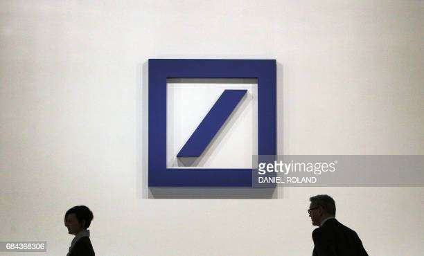 The logo of the German company Deutsche Bank is pictured during the company's annual shareholder meeting in Frankfurt Germany on May 18 2017 / AFP...
