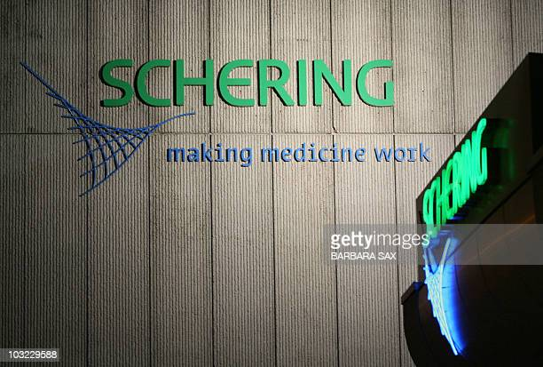 The logo of the German contraceptive specialist Schering is seen late 14 June 2006 at the company's headquarters in Berlin Shareholder associations...