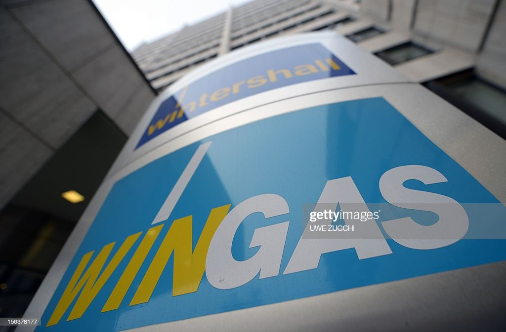 The logo of the German energy company Wingas is pictured at the company's headquarters in Kassel, western Germany, on November 14, 2012. Russian Gazprom group acquired all Wingas shares from former majority holder BASF in an exchange transaction. German chemicals giant BASF and Russian energy firm Gazprom announced on November 14, 2012 they were swapping certain strategic assets as the German firm seeks to bolster its natural gas production.