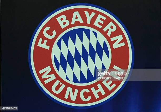 The logo of the German first division Bundesliga football club FC Bayern Munich is pictured in the stadium in Munich southern Germany on March 10...