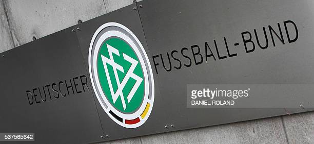The logo of the German Football Federation DFB is pictured in Frankfurt / Main on June 2 2016 / AFP / DANIEL ROLAND