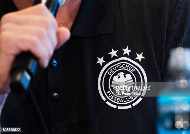 The logo of the German football federation during the Germany U21 national team press conference at Krakow Stadium on June 29 2017 in Krakow Poland