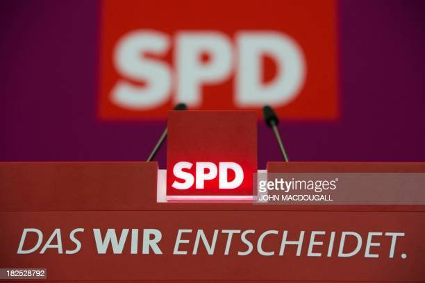 The logo of the German Social Democratic Party with the campaign slogan reading 'The We decides' is pictured at the party headquarters in Berlin...