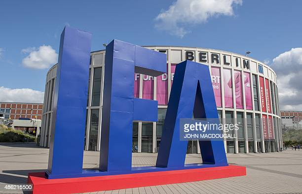 The logo of the IFA electronics trade fair is seen in front of one of the fair's main entrances ahead of the opening of the 55th IFA on September 02...