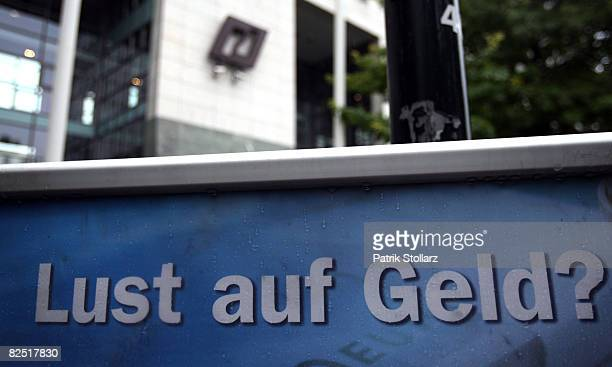 The logo of the IKB Deutsche Industriebank is seen on the headquarters' building August 22 2008 in Duesseldorf Germany Lone Star Funds the...