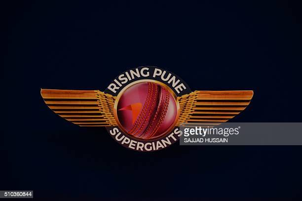 The logo of the Indian Premier League's Rising Pune Supergiants cricket team is seen during an event to unveil the team jersey in New Delhi on...