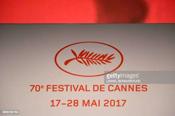 The logo of the International Cannes Film Festival is pictured during a press conference to announce the movies in official competition for the...