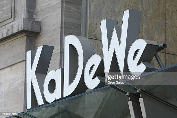 The logo of the KaDeWe luxury department store stands above the main entrance on April 21 2009 in Berlin Germany German retail group Arcandor AG...