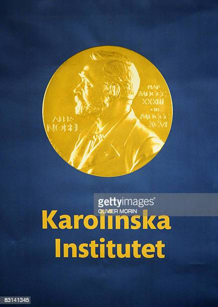The logo of the Karolinska Institute where the Nobel Assembly announces the award of Nobel Prize in Medecine is pictured on October 6 2008 in...