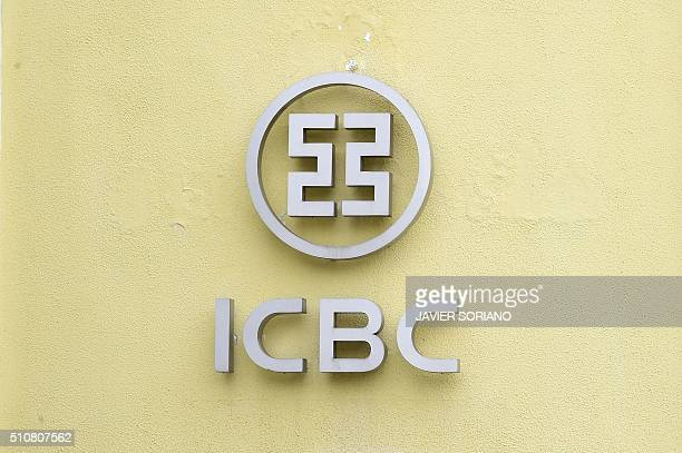 The logo of the Madrid branch of China's biggest lender ICBC is pictured the building facade after its director and a deputy director were arrested...