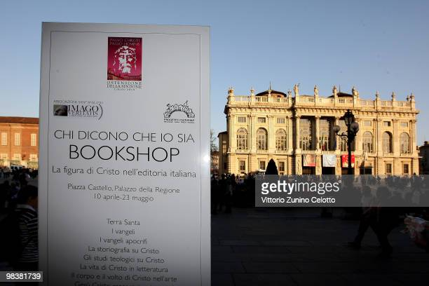 The logo of the official book shop is displayed in front of Palazzo Madama during the Solemn Exposition Of The Holy Shroud on April 10 2010 in Turin...