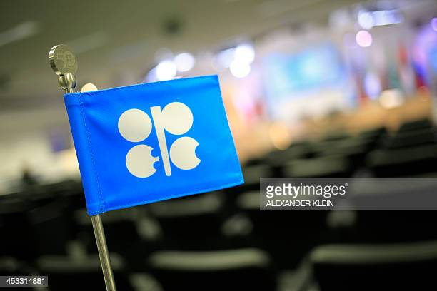 The logo of the OPEC is seen at the organization's headquarter on the eve of the 164th OPEC meeting in Vienna Austria on December 3 2013 Iran will...