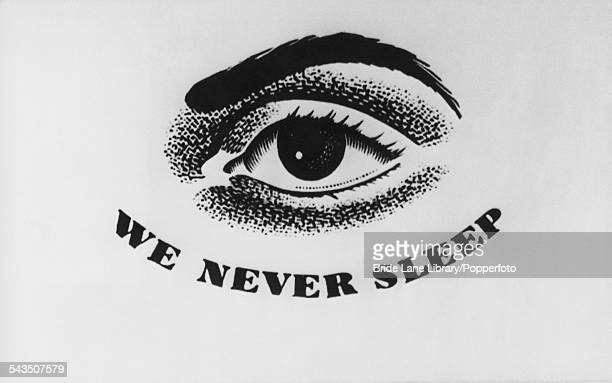 The logo of the Pinkerton detective agency featuring a watchful eye and the slogan 'We Never Sleep' circa 1900