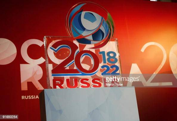 The logo of the Russian Football Federation is pictured prior to the press conference at the GUM shopping mall on October 9 2009 in Moscow Russia