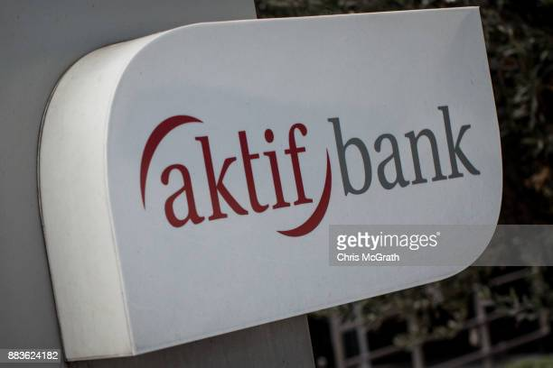 The logo of the Turkish bank Aktif Bank is seen on December 1 2017 in Istanbul Turkey The trial of Mr Reza Zarrab an IranianTurk who ran a foreign...