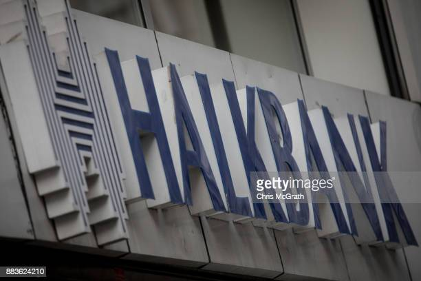 The logo of the Turkish bank Halkbank is seen on December 1 2017 in Istanbul Turkey The trial of Mr Reza Zarrab an IranianTurk who ran a foreign...