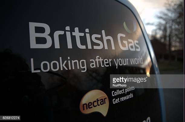 The logo of the UK energy firm British Gas a subsidiary of the multinational firm Centrica Manchester UK 2nd March 2015