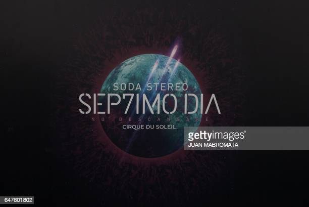 The logo of the upcoming show by Cirque du Soleil 'Soda Stereo SEP7IMO DIA No Descansare' is seen before an interview with executive producer Diego...