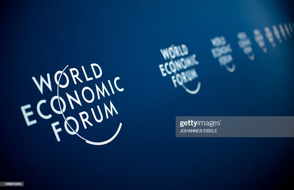 The logo of the World Economy Forum is pictured in the congress center on January 21, 2013 at the Swiss resort of Davos. The World Economy Forum (WEF) will take place from 23 to the 27 of January. AFP PHOTO / JOHANNES EISELE